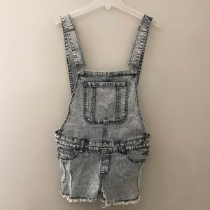 Denim - Acid Wash Shortalls Size 11 Blue White Cutoffs